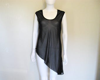 Sheer Black Asymmetrical Pullover Top / layering piece - Large