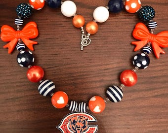Chicago Bears Football Sports NFL inspired Burnt Orange/Orange/Blue/White Bubble Gum Necklace (Adult/Teen)