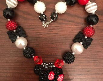 Minnie Mouse 4-Styles Red/White/Black Girls Bubble Gum Necklace (Child/Toddler)