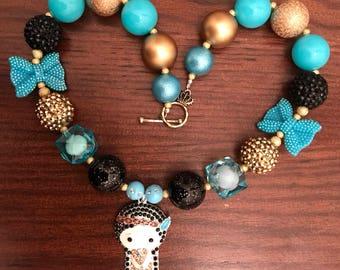 Princess Pochontas inspired Bubble Gum Necklace (Child)
