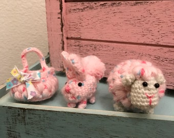 Handmade Crocheted Amigurumi Rabbit, Lamb and Basket