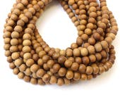 6mm Matte Natural Untreated Raw Sandalwood Beads for Jewellery Making Mala Beads 75 Beads