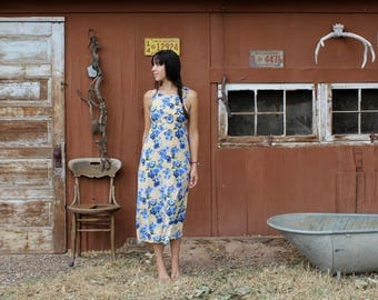 Vintage floral maxi dress // flower sundress // yellow floral maxi dress