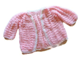 Sweater Baby Girl Vintage Cardigan Button Down Knit Pink And White Retro Clothing Childrens Kids 70s Birthday Shower Gift