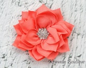 Vintage Coral Satin Flower, Fabric Flower, Craft Supplies, DIY Flower, DIY supplies, Embellishment