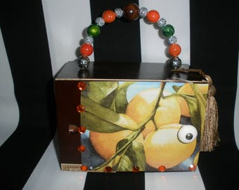 Orange You Sweet Cigar Box Purse, Cigar Box Handbag, Authentic, Tampa, Zebra Lined, Slide Opening