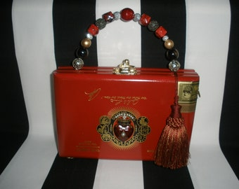 Red Fuente Cigar Box Purse, Cigar Box Handbag with Heart and Crown Brooch, Authentic- Stunning!