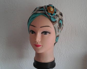 vintage reversible stretch chemo hat, mid summer, wife, daughter