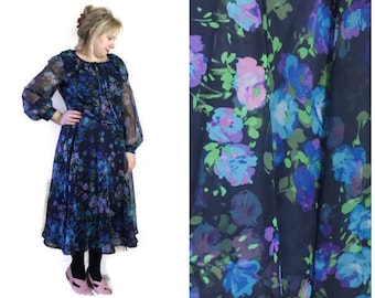 70s sheer floral dress // blue floral floaty dress // chiffon stlye dress // 70s garden party // whimical boho dress // floaty floral  dress