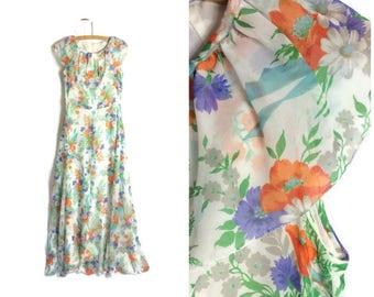 70s floral maxi dress / vintage hippie dress // long floaty 70s dress // whimsical floral dress // garden party vintage dress UK 8