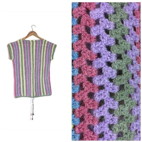 Vintage 70s crochet top / rainbow knitted hippie top /  hand made 70s hippie top / bohemian crochet / vintage hippie rainbow top / summer