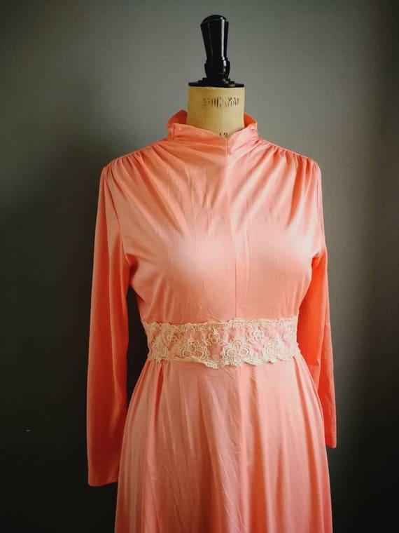 70s peach maxi dress / peach pink vintage long gown / peach goddess dress / Grecian maxi dress / peach vintage wedding dress / UK 10