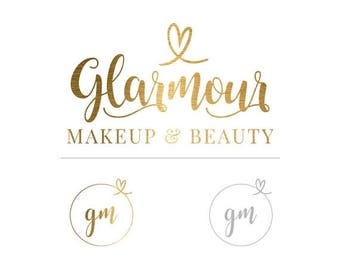 ON SALE Makeup Logo, Gold Logo Set, Business Logo, Makeup Logo, Branding Logo, Logo Set, Stylish Logo, Watermark, Glamour Logo, Gold Logo, L