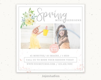 Spring Mini Session Marketing for Photographer, Spring Marketing Board, Photographer Marketing Template, Photography Template, m198