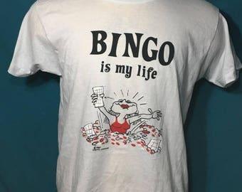 35% OFF SALE Vintage 80s Bingo Is My Life 1980s SOFT Screen Stars t shirt - 80s tshirt - 80s shirt - funny tees - funny shirt (Xl)