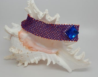 UF Orange and Blue Netted Bead Bracelet with Chunky Button Closure