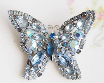 Vintage Blue Rhinestone Butterfly Brooch Pin