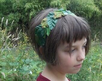 Leafy Woodland Fairy Crown, Green Leaf Crown, Leafy Headband, Woodelf Headpiece, Leafy Headpiece, Green Forest Crown, Forest Fairy Crown C02