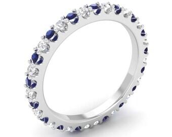 Natural Round Blue Sapphire Eternity Ring | Blue sapphire Anniversary Ring |14K Gold Blue Sapphire With Diamond Eternity Ring | Wedding Ring