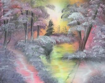 Spray Paint Art Swamp Pink Purple Landscape Lake colorful