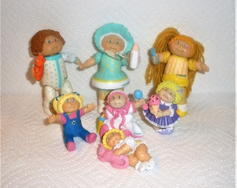 Vintage Cabbage Patch Kids/ Lot of 7 / Small Hard Rubber Size /  1984 Issue / Signed O.A.A. Inc.