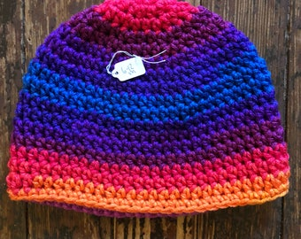 6-12 month classic beanie crochet hat rainbow colors (buy one donate many)