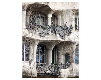 La Pedrera, Gaudi, Architecture of Barcelona, architectural print, urban art, Catalan Art Nouveau, Catalonia