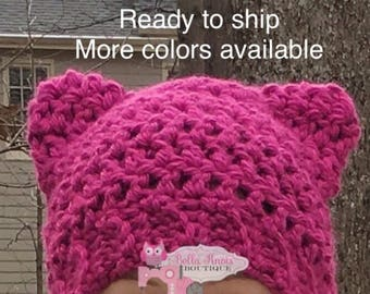 Pink Pussyhat, Ready to ship, pink cat hat, pussy cat hat, Pussycat, pussyhat project, pink cat ear beanie, women's march hat, crochet hat