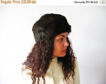 CIJ SALE Vintage 70s Rabbit Fur Pillbox Hat Chocolate Brown Hat Natural Rabbit Vintage 1970s Woman's Fashions Russian Winter