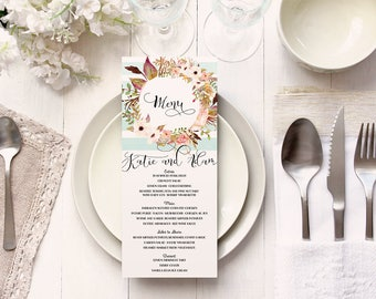 Floral Wedding Menu Cards with Mint Turquoise Stripes - Boho Modern Garden Reception Menu - Printable or Printed
