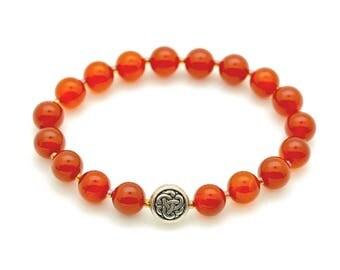 Carnelian Bead Bracelet with Tibetan Knot