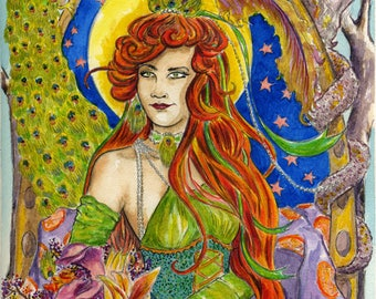 Gypsy and Peacock Art Nouveau Style - Digital Print Instant Download