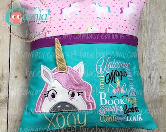 Unicorn Large Embroidered Reading Pillow with pocket - Child, Girl, Toddler