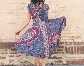 1950's Two-Piece Wax Print Cotton Dress & Matching Bolero