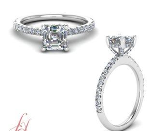 High Setting Petite Engagement Ring 1.10 Carat Asscher Cut Diamond In 14K White Gold GIA Certified