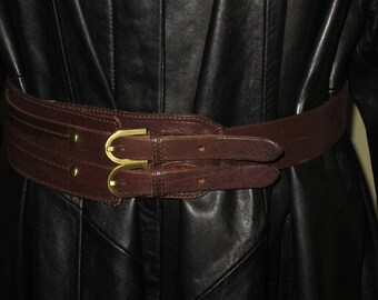 Woman's Vintage Dark Brown Leather Double Strap Belt , Oassis ,