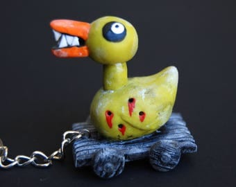 Evil Duck Toy   The Nightmare before Christmas keychain   Duck keychain   Geek Accessories   Nerdy Keychain   Halloween duck   Evil duck