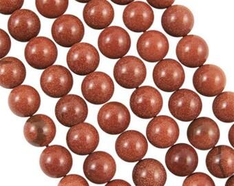 10 x 6mm Goldstone round beads