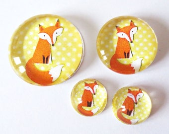 "Lot 4 cabochons ""Fox - yellow polka dot"" theme (craftsmanship) 12mm / 20mm / 25mm"