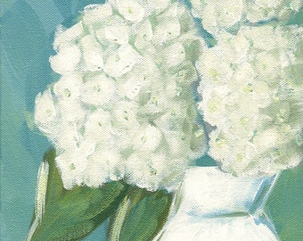 Hydrangeas - Visions of White - ORIGINAL acrylic painting - cottage chic decor - by Lana Manis