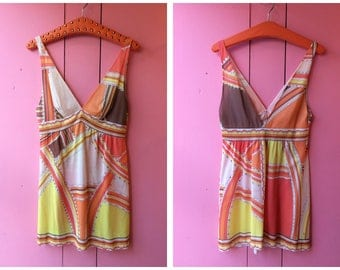 Vintage Emilio Pucci Orange Multicolour Tank Top