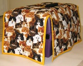 Kitty Cats Quilted Reversible Crate Carrier Cover with Brown, Black, White, Orange Cats