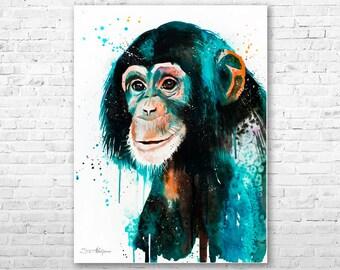 Original Watercolour Painting- Chimp Chimpanzee art, animal illustration, animal watercolor, animals paintings, animals, portrait,