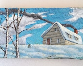 landscape painting, birch trees, cabin, snow, clouds, rustic decor, wall hanging, snow scene, winter