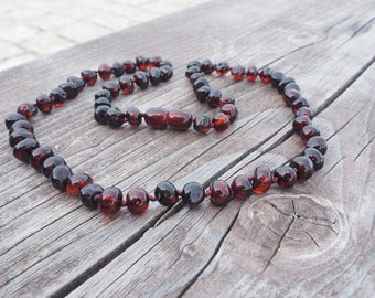 Baltic Amber Necklace for Mother Women polished dark cherry amber baroque  beads