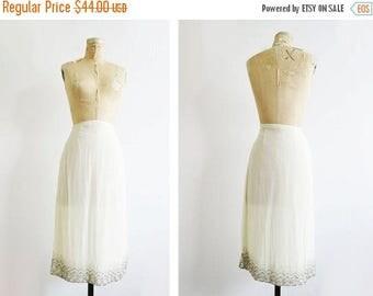 ON SALE White Sequined Skirt // Large Silver Beaded Midi Skirt // Vintage Women's Clothing