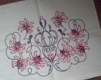 Hungarian Handmade Black Red Hand Embroidery Pillow Case Pillow Sham