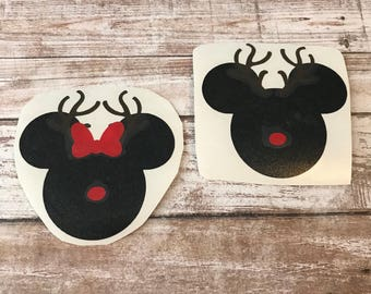 Christmas Reindeer Minnie Mickey Vinyl Decal Car Laptop Wine Glass Sticker
