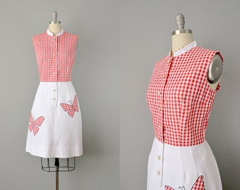 60s Dress // 1960's Red Gingham and Cotton Piqué Butterfly Dress // Medium