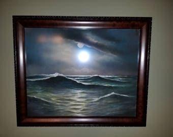 Fantastic Vintage Robert LeMon Oregon Coast Ocean Pastel Painting Pac NW Artist